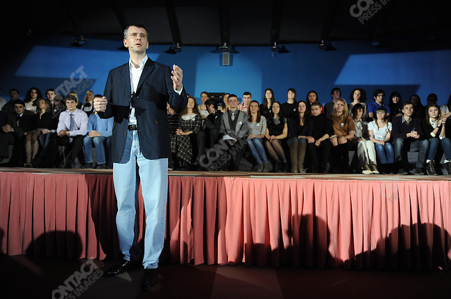 prokpres14-Photo by James Hill/08 February 2012-Mikhail Prokhorov, the billionaire businessman and candidate in the upcoming Russian presidential elections, spoke to and answered questions with a crowd of students and local residents in Sochi at a campaign event.