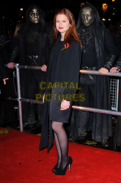 "BONNIE WRIGHT .""Harry Potter And The Deathly Hallows: Part 1"" World Film Premiere, Empire cinema Leicester Square and Odeon Leicester Square, London, England, UK, 11th November 2010..full length black long sleeve top blouse skirt tights peep toe platform shoes scarf dress .CAP/CJ.©Chris Joseph/Capital Pictures."