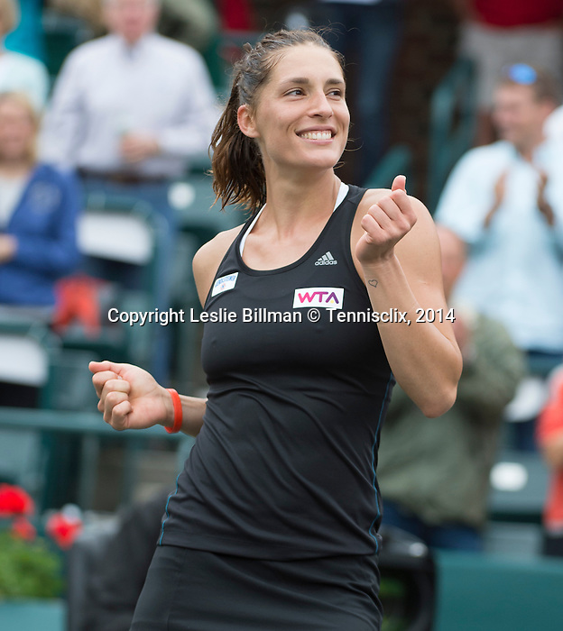 Andrea Petkovic defeats Jana Cepelova 7-5, 6-2 at the Family Circle Cup in Charleston, South Carolina on April 6, 2014.