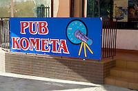 Sign for a Polish comet theme bar. Rawa Mazowiecka Central Poland