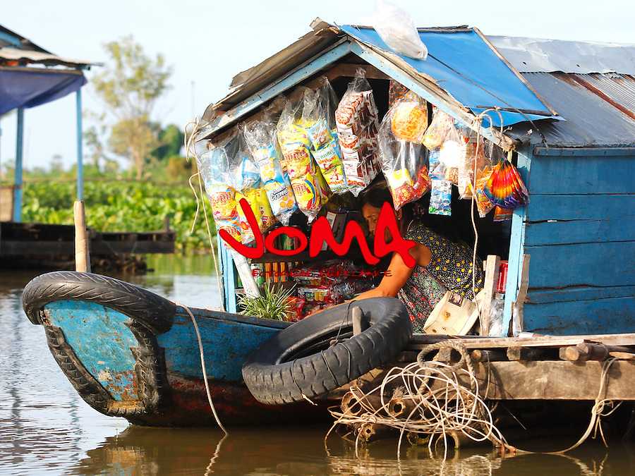 MARKET BOAT IN CHONG KOS  FLOATING VILLAGES AT TONLE SAP RIVER