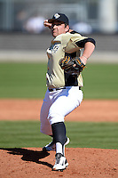 Central Florida Knights pitcher Trent Thompson (42) during a game against the Siena Saints at Jay Bergman Field on February 16, 2014 in Orlando, Florida.  UCF defeated Siena 9-6.  (Mike Janes/Four Seam Images)
