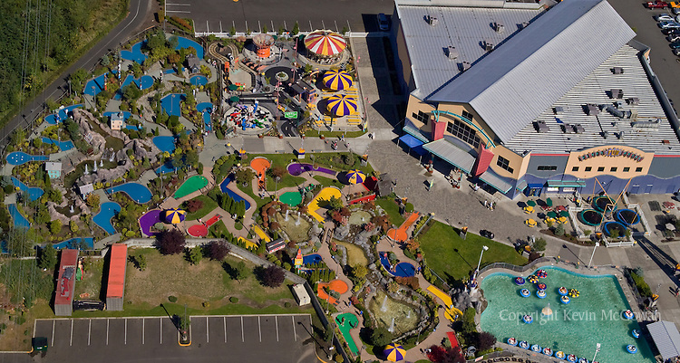 Aerial view of Family Fun Center in Renton, WA | McGowan Photography