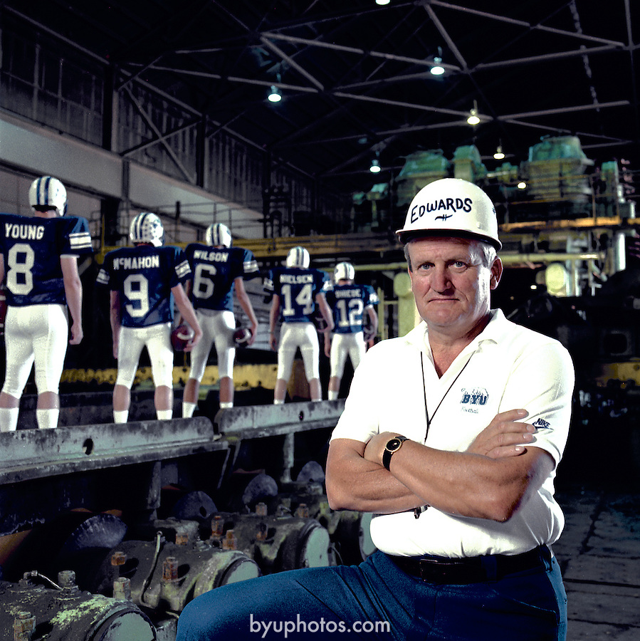 Quarterback Factory..Coach LaVell Edwards Quarterback Factory. 8 Steve Young. 9 Jim McMahon. 6 Marc Wilson. 14 Gif Nielsen. 12 Gary Sheide...Photo by Mark Philbrick/BYU..Copyright BYU Photo 2009.All Rights Reserved.photo@byu.edu  .(801)422-7322