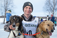 Dakota Schlosser with lead dogs at the finish line of the 2016 Junior Iditarod in Willow, Alaska, AK  February 28, 2016