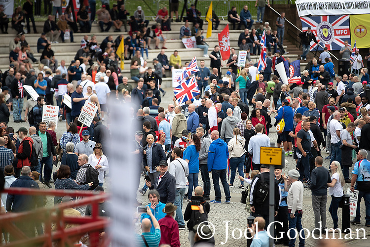 © Joel Goodman - 07973 332324 . 02/06/2018. Manchester, UK. Approximately 1,000 Democratic Football Lads Alliance supporters demonstrate at Castlefield Bowl in Manchester , eleven days after the first anniversary of the Manchester Arena terror attack . Photo credit : Joel Goodman