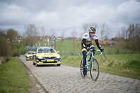 Sep Vanmarcke (BEL/LottoNL-Jumbo) on the cobbles of the Haaghoek<br /> <br /> Ronde van Vlaanderen 2016 recon with Team LottoNL-Jumbo