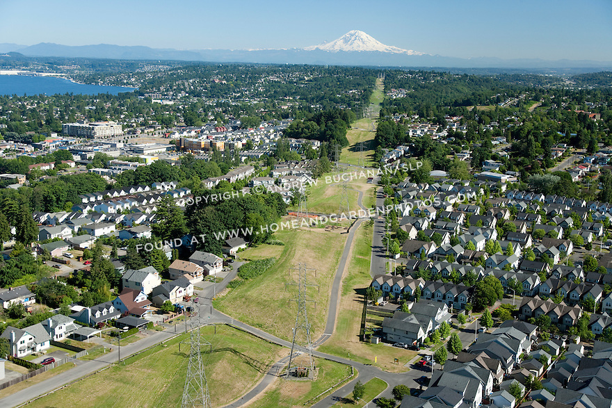 New Holly / Holly Park; Seattle, WA; An aerial view of New Holly, a mixed housing development, with open green space and Mt. Rainier in the background.