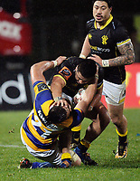 Asofa Aumua hands off Henry Stowers during the Mitre 10 Cup rugby union match between Bay of Plenty and Wellington at Rotorua International Stadium in Rotorua, New Zealand on Thursday, 31 August 2017. Photo: Dave Lintott / lintottphoto.co.nz