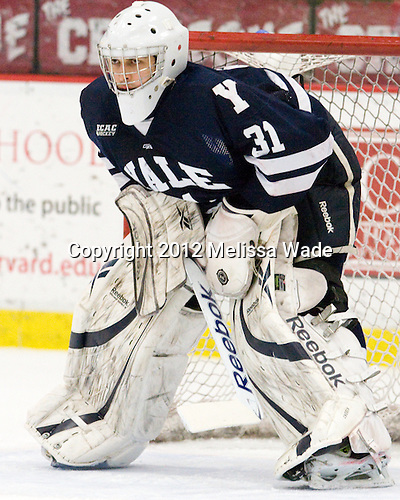 Nick Maricic (Yale - 31) - The Harvard University Crimson defeated the visiting Yale University Bulldogs 8-2 in the third game of their ECAC Quarterfinal matchup on Sunday, March 11, 2012, at Bright Hockey Center in Cambridge, Massachusetts.
