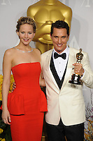 Matthew McConaughey &amp; Jennifer Lawrence at the 86th Annual Academy Awards at the Dolby Theatre, Hollywood.<br /> March 2, 2014  Los Angeles, CA<br /> Picture: Paul Smith / Featureflash