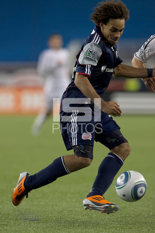 New England Revolution defender Kevin Alston (30) attempts to control the ball. In a Major League Soccer (MLS) match, the New England Revolution defeated the Vancouver Whitecaps FC, 1-0, at Gillette Stadium on May14, 2011.