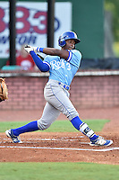 Burlington Royals designated hitter Jonathan McCray (3) swings at a pitch during game against the Elizabethton Twins at Joe O'Brien Field on August 24, 2016 in Elizabethton, Tennessee. The Royals defeated the Twins 8-3. (Tony Farlow/Four Seam Images)