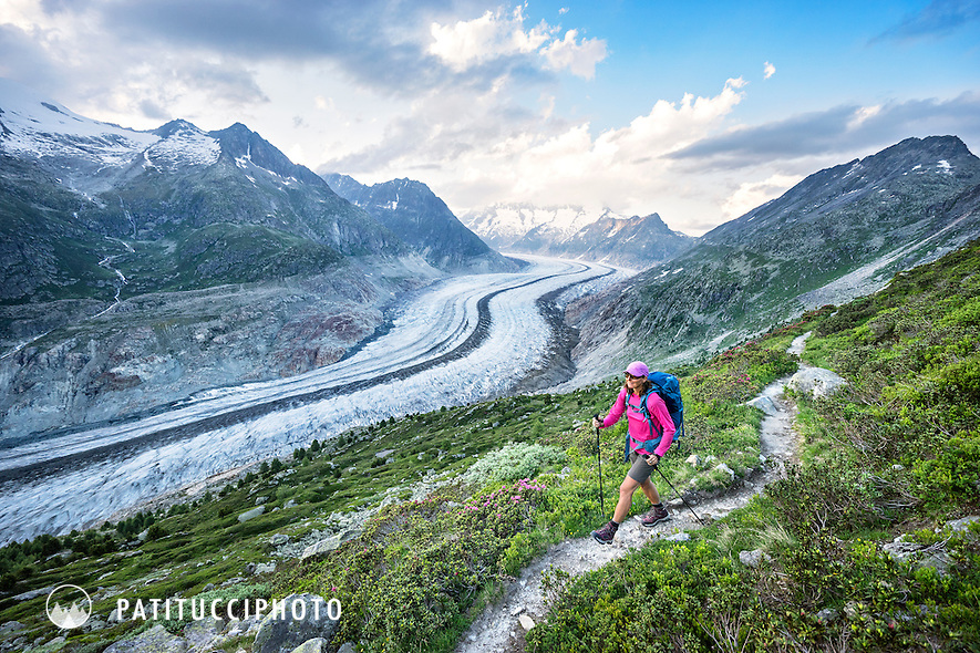 Hiking the trails along the edge of the Aletschgletscher, the Alp's largest glacier, from Bettmeralp and Riederalp, Switzerland