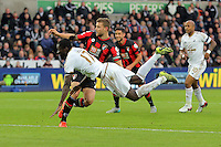 Eder of Swansea fails to score with a header during the Barclays Premier League match between Swansea City and Bournemouth at the Liberty Stadium, Swansea on November 21 2015
