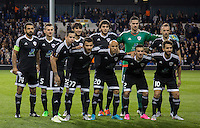 Qarabag Line up for a pre match photo Back Row (l-r) Rashad Sadygov, Maksim Medvedev, Afran Ismayilov, Badavi Guseynov, Goalkeeper Ibrahim Sehic & Ansi Agolli Front Row (l-r) Reynaldo, Javid Tagiyev, Richard Almeida, Gara Garayev & Dani Quintana during the UEFA Europa League match between Tottenham Hotspur and Qarabag FK at White Hart Lane, London, England on 17 September 2015. Photo by Andy Rowland.