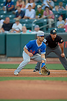 Connor Joe (34) of the Oklahoma City Dodgers on defense against the Salt Lake Bees at Smith's Ballpark on August 1, 2019 in Salt Lake City, Utah. The Bees defeated the Dodgers 14-4. (Stephen Smith/Four Seam Images)