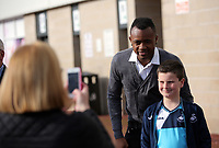 Pictured: Jordan Ayew poses for a picture with a young fan Wednesday 18 May 2017<br />Re: Swansea City FC, Player of the Year Awards at the Liberty Stadium, Wales, UK.