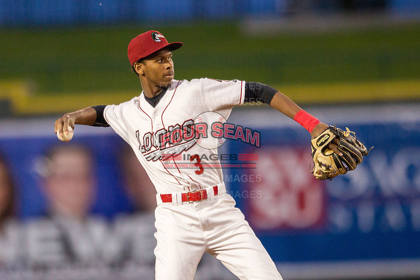 Great Lakes Loons shortstop Brendon Davis (3) makes a throw to first base against the South Bend Cubs on May 18, 2016 at Dow Diamond in Midland, Michigan. Great Lakes defeated South Bend 5-4. (Andrew Woolley/Four Seam Images)