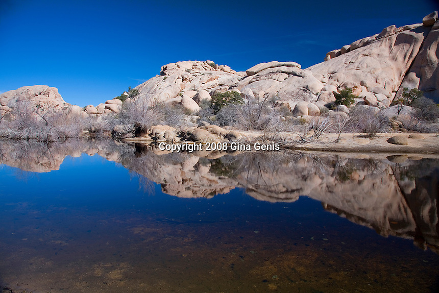Horizontal view of rocks reflected in Barker Dam in Joshua Tree National Park.