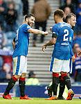 07.04.2018 Rangers v Dundee:<br /> Daniel Candeias celebrates his goal with James Tavernier