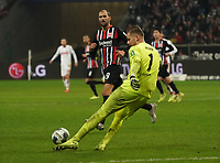 Torwart Timo Horn (1. FC Koeln) klaert - 18.12.2019: Eintracht Frankfurt vs. 1. FC Koeln, Commerzbank Arena, 16. Spieltag<br /> DISCLAIMER: DFL regulations prohibit any use of photographs as image sequences and/or quasi-video.