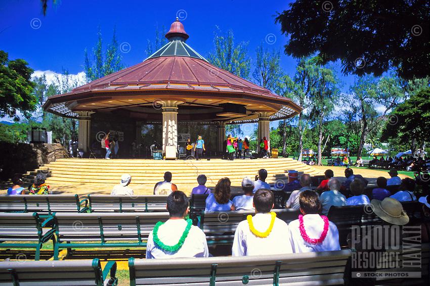 The Kapiolani bandstand,in Kapiolani park, hosts a variety of entertainment from hula shows to the Royal Hawaiian Band.