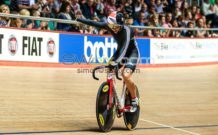 Picture by Alex Whitehead/SWpix.com - 27/09/2014 - Cycling - 2014 British Cycling National Track Championships - Day 4 - National Cycling Centre, Manchester, England - West Midlands' Danielle Khan (pictured) and Jessica Varnish win Gold in the Women's Team Sprint final.