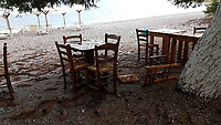 WEATHER PICTURE<br /> The aftermath of a monsoon type storm in the bay of south Evia minutes at Nireas beach near Aliveri on the island of Evia, Greece. The country has been experiencing recent heatwaves. Thursday 27 July 2017