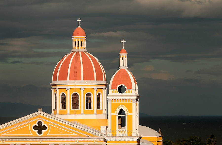 The golden light of the setting sun on the Central Cathedral, Granada, Nicaragua