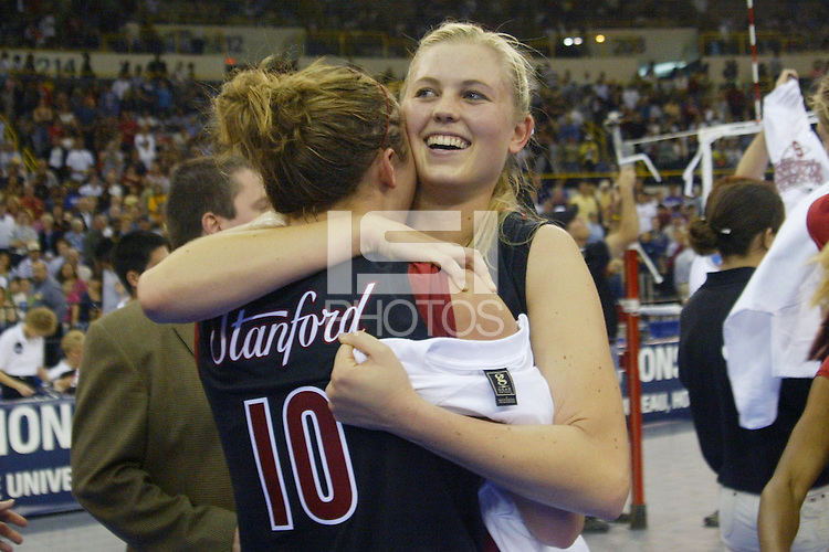 18 December 2004: Stanford Cardinal Courtney Schultz during Stanford's  30-23, 30-27, 30-21 victory over Minnesota in the 2004 NCAA Women's Volleyball National Championships in Long Beach, CA. Stanford won their sixth women's volleyball title in school history.<br />