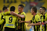 Wellington Phoenix&rsquo; Andrija Kaluderovic and Wellington Phoenix' Dylan Fox in action during the A League - Wellington Phoenix v Melbourne Victory FC at Westpac Stadium, Wellington, New Zealand on Wednesday 10 January 2018. <br /> Photo by Masanori Udagawa. <br /> www.photowellington.photoshelter.com