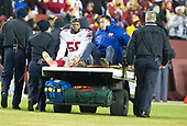 New York Giants linebacker Curtis Grant (58) is carted off the field with an injury in the first quarter against the Washington Redskins at FedEx Field in Landover, Maryland on Thursday, November 23, 2017.<br /> Credit: Ron Sachs / CNP<br /> (RESTRICTION: NO New York or New Jersey Newspapers or newspapers within a 75 mile radius of New York City)