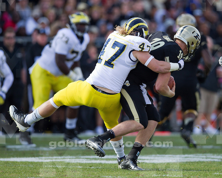 The University of Michigan football team defeats Purdue, 44-13, at Ross-Ade Stadium in West Lafayette, Indiana on October 6, 2012.