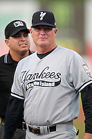 Staten Island Yankees manager Tom Slater #56 before game one of the NY-Penn League Championship Series against the Auburn Doubledays at Falcon Park on September 12, 2011 in Auburn, New York.  Staten Island defeated Auburn 9-2.  (Mike Janes/Four Seam Images)