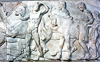 Greek Arts:  Parthenon Sculptures, North Frieze XLII--Horsemen preparing to mount; a boy helps.  Trustees of the British Museum 1986.