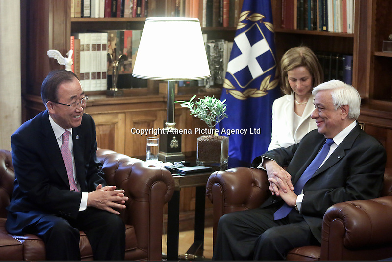 Pictured L-R: Ban Ki-Moon meets Greek President Prokopis Pavlopoulos in Athens, Greece. Friday 17 June 2016<br /> Re: The United Nations secretary-general is visiting Greece, ahead of talks with government officials and a trip to the island of Lesbos, which is at the forefront of Greece's immigration crisis.<br /> Ban Ki-moon met with officials and volunteers at the Solidarity Now group, which helps victims of Greece's financial crisis and migrants stuck in the country.<br /> He has also visited Greek President Procopis Pavlopoulos before travelling camps on Lesbos island where 3,400 refugees and other migrants live.