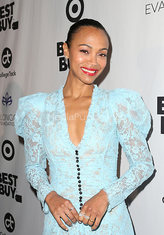 LOS ANGELES, CA - NOVEMBER 8: Zoe Saldana, at the Eva Longoria Foundation Dinner Gala honoring Zoe Saldana and Gina Rodriguez at The Four Seasons Beverly Hills in Los Angeles, California on November 8, 2018. Credit: Faye Sadou/MediaPunch