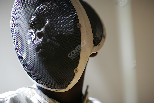 Boys fencing at the Frederick Douglass Academy in Harlem, New York City, New York, July 25, 2007
