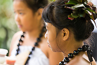 Young hula dancers at a Makahiki Festival recital in Waimea Valley on O'ahu.