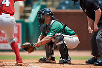 Greensboro Grasshoppers catcher Michael Hernandez (17) awaits the pitch during a game against the Lakewood BlueClaws on June 10, 2018 at First National Bank Field in Greensboro, North Carolina.  Lakewood defeated Greensboro 2-0.  (Mike Janes/Four Seam Images)