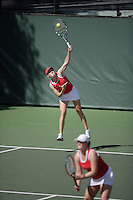 11 March 2007: Theresa Logar and Whitney Deason in doubles during Stanford's 5-2 win over Texas at the Taube Family Tennis Stadium in Stanford, CA.