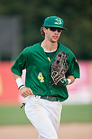 Beloit Snappers center fielder Mickey McDonald (4) jogs back to the dugout during a game against the Dayton Dragons on July 22, 2018 at Pohlman Field in Beloit, Wisconsin.  Dayton defeated Beloit 2-1.  (Mike Janes/Four Seam Images)