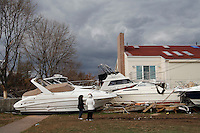 Boats remain in the streets of Great Kills Neighborhood in Staten Island after been afected by the hurricane Sandy in New York, United States. 02/11/2012. Photo by Kena Betancur/VIEWpress.