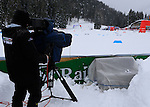 TV crew during the FIS Ski World Cup Men' 15 Km Individual Classic, on February 1, 2014 in Dobbiaco, Toblach. <br /> <br /> &copy; Pierre Teyssot