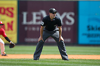 Third base umpire Brennan Miller during the Southern League game between the Tennessee Smokies and the Birmingham Barons at Regions Field on May 4, 2015 in Birmingham, Alabama.  The Barons defeated the Smokies 4-3 in 13 innings. (Brian Westerholt/Four Seam Images)