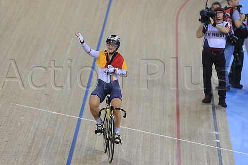03.03.2016. Lee Valley Velo Centre, London England. UCI Track Cycling World Championships. Womens Keirin finals.  VOGEL Kristina (GER) takes the gold medal and celebrates