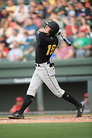 Left fielder Charlie McConnell (19) of the West Virginia Power bats in a game against the Greenville Drive on Friday, May 17, 2019, at Fluor Field at the West End in Greenville, South Carolina. West Virginia won, 10-4. (Tom Priddy/Four Seam Images)