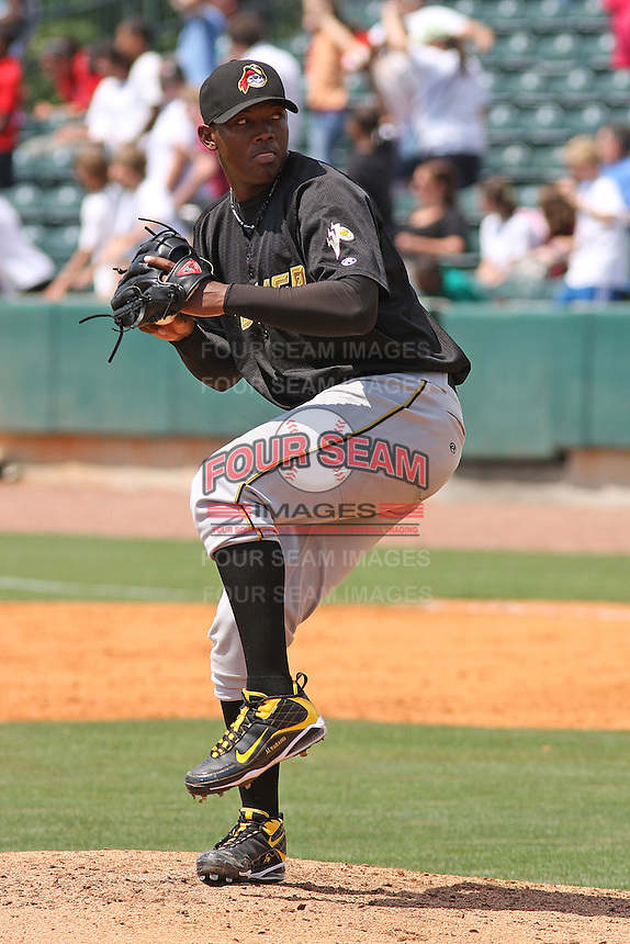 RHP Gabriel Alvarado #44 of the West Virginia Power pitching against the Charleston RiverDogs on April 14, 2010  in Charleston, SC.
