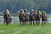 Winner of The AJN Steelstock Henstridge Apprentice Handicap  Kodiac Pride (l) ridden by Kaia Ingolfsland and trained by Sir Mark prescott loses her weight cloth and weighed in underweight during Horse Racing at Salisbury Racecourseh on 9th August 2020